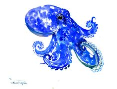 Octopus, Original watercolor painting, sea animal art, blue sea animals, blue white, 12 X 9 in, vertical orientation