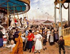 Laura Knight (1877 – 1970, English) - Penzance Fair,1916.