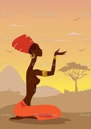 Illustration about Young African Woman in Savannah. Illustration of traditional, zulu, fashion - 22519172 American Art, African, African Drawings, Art Painting, Female Art, Art, African Art Paintings, Canvas Art, Africa Art