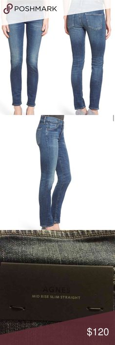 """AGNES CITIZEN OF HUMANITY NWOT 'Agnes' Slim Straight Leg Jeans (Euclid) ✅ BRAND NEW NO TAG Lived-in fading and whiskering create a beautiful marbled effect on the versatile medium-blue wash of straight-leg jeans cut in a slim, body-conscious silhouette. 29 1/2"""" inseam; 12 1/2"""" leg opening; 10"""" front rise; 13"""" back rise (size 29). Zip fly with button closure. Five-pocket style. 98% cotton, 2% polyurethane. Citizens of Humanity Jeans Straight Leg"""