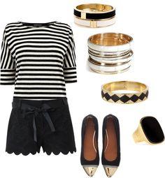 """""""Black & White... & Gold"""" by karrina-renee-krueger on Polyvore"""