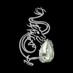 White gold dragon pendant with diamonds and greenberyl