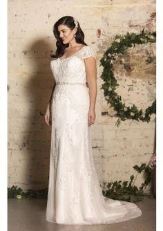 3977e722d3c Sheath Column Short Sleeve V-neck Court Train Crossed Straps Appliqued  Wedding Dress With