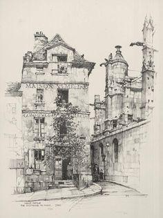 Vielle Maison, Rue Saint Etienne du Mont, Paris by Samuel Chamberlain Drawing Sketches, Art Drawings, Pencil Drawings, Art Et Architecture, Building Sketch, Landscape Drawings, Urban Sketchers, Environmental Art, Painting & Drawing