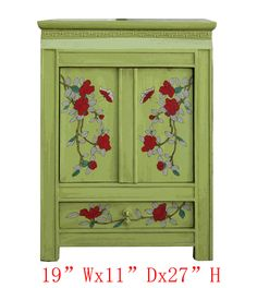 Chinese Green Flower Bird Painting Nightstand End Table Cabinet - Golden Lotus Antiques  goldenlotusinc@yahoo.com 650-522-9888