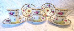 Gorgeous Victorian Style Tea Cups and by VintageGlassEscape