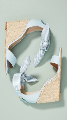 Mint stripes bow wedge sandals