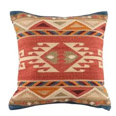 The Lodge collection features traditional southwestern and tribal designs using vibrant yellow, orange, blue, brown, green and rust colors to match the flat weave rug. These pillows are hand woven in India Large Pillows, Floral Throw Pillows, Throw Pillow Sets, Outdoor Throw Pillows, Decorative Throw Pillows, Kilim Pillows, Kilim Rugs, Rug Company, Cricut