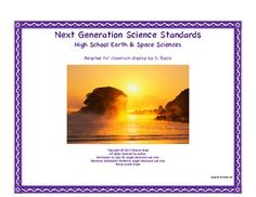2013 NGSS High School HS Next Generation Earth Space Science Standards Posters