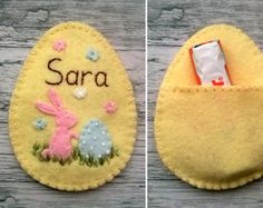 easter decorations 321092648432752714 - Personalized easter egg, Felt Egg Easter Candy Holder, Personalised Easter ornament, Embroidered Name, Easter gift Source by valbrei Felt Diy, Handmade Felt, Felt Crafts, Easter Projects, Easter Crafts, Easter Decor, Easter Gift, Easter Candy, Easter Eggs