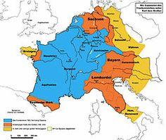 768 a 814 - Carlomagno creó un reino que alcanzaba desde los Pirineos, incluyendo una zona del norte de la Península Ibérica, pasando por casi toda Francia moderna (a excepción de Bretaña), la mayor parte de Alemania,el norte de Italia y la actual Austria. Sería sucedido un siglo después por el Reino de Francia en su parte oeste, y por el Sacro Imperio Romano Germánico en el este.