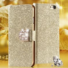 Bling Case For Huawei Ascend P8 Lite Fundas Flip Leather Capa Shinning Glitter Diamond Phone Cover For Huawei  P8 Mini Ale-L21