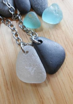Sea Glass and Beach Stone Jewelry Pendant by SeaFindDesigns