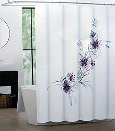 Tahari Fabric Shower Curtain Purple Blue Floral Pattern On White    Martina  Tahari Home Http  Purple And Grey Shower Curtain