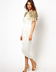Virgos Lounge Nicola Wrap Midi Dress with Embellished Shoulders
