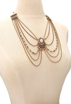 Layered Faux Stone Necklace | Forever 21 - 1000134224