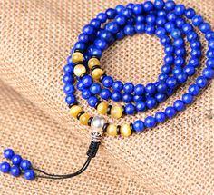 Tibetan Designer Mala Genuine Lapis Lazuli Beads Mala Tibetan Rosary Beads Buddhist Prayer 108 Beads 925 Silver Guru bead