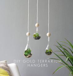 DIY gold terrarium hangers - easy handmade gift for Mother's Day