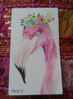 Acuarela. Watercolors. Flamingo