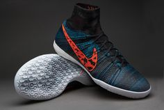 Mens Football Boots - Nike Elastico Superfly Indoor - Soccer Cleats - Black/Total Crimson/Blue Lagoon/Dark Grey - 641597-084