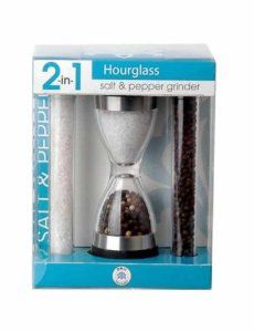 Orii Gourmet GPT1815A 2 In 1 Hour Glass Salt And Pepper Grinder Set by Longden Enterprises. $29.28. Durable Crystal clear construction. Double ended design select salt or pepper with a flip of the hand. 2 Refill tubes of sea salt and black peppercorn. Complements any kitchen. Easy grip ends. It takes equal parts of creativity and science to prepare a meal for family and friends. Start with a recipe, experiment with flavors and textures, and as your confidence grows, your signat...