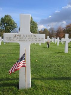 Technical Sergeant Lewis P. Ficken U.S. Army Air Forces 359th Bomber Squadron, 303rd Bomber Group, Heavy Entered the Service From: North Carolina Service #: 14187836 Date of Death: November 10, 1944 World War II Buried: Plot J Row 7 Grave 4 Netherlands American Cemetery Margraten, Netherlands