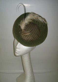 Ladies Tweed Tilt hat with Vintage feather bird