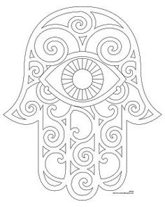 Hamsa Embroidery Pattern with eye: Tattoo Ideas, Embroidery Patterns, Hamsa Drawings, Hands. Use for SAFETY project. Reverse side, draw a memory that makes you feel safe in the palm of the hand. Draw the smell, taste, touch, sound and look of this memory in each finger. Hang it up and Use when you feel unsafe!