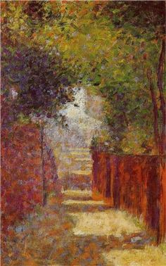 Rue St. Vincent in Spring - Georges Seurat, 1883-4. Example of bulls eye composition