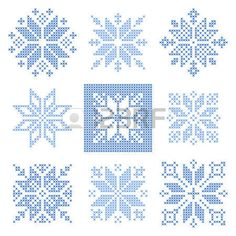 Этнические вышивки: Набор из 9 кросс снежинки Строчка, скандинавском стиле. Геометрический орнамент для вышивки. Идеально подходит для дизайна Рождество. векторные иллюстрации