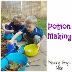 """""""Potions"""" - look at the concentration on this boy's face as he creates his own concoctions, combining materials in his own individual way."""