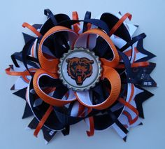 Illinois Chicago Bears Football Stacked Boutique Hair Bow French Barrette Grosgrain Ribbon Bottle Cap Handmade by KraftyKreations2014 on Etsy