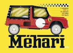 Mehari by Mateo Vullo (la rochelle 2014) 2cv6, Beach Cars, Jeep, Style, Cars, Garage Art, Amphibians, First Car, Posters