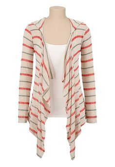 Open Front Striped Hooded Cardiwrap available at #Maurices