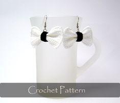 CROCHET PATTERN  Crochet Bow Earrings Bows by AimarroPatterns
