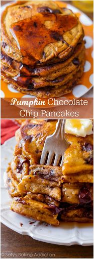 Pumpkin Chocolate Chip Pancakes With All-purpose Flour, Baking Powder, Baking Soda, Salt, Ground Cinnamon, Pumpkin Pie Spice, Semi-sweet Chocolate Morsels, Pumpkin Purée, Dark Brown Sugar, Large Eggs, Canola Oil, Whole Milk