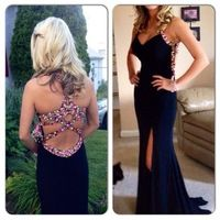2014 exquisite  evening dresses  tank straps slits out backless sexy black formal dresses prom dresses PD716