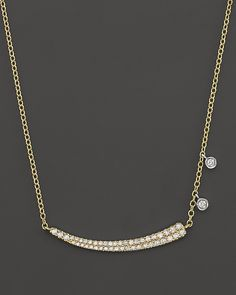 """Meira T 14K Yellow Gold Pave Diamond Curved Bar Necklace with 14K White Gold Side Bezels, 16"""" on shopstyle.com"""