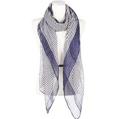 Add a pop of pattern to your outfit with this lightweight dual colour striped scarf. 100% Polyester. Also available in Red & Blue