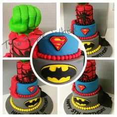 #superhero #marvel 3 tier chocolate cake. Batman, Superman, Spiderman & Hulk. Www.thepurplewhisk.co.uk