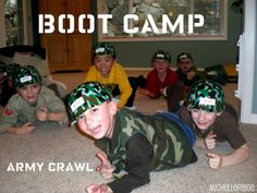 Army party game: Boot camp! Practice marching, jumping jacks, sit ups...