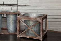 cute planter idea: Wide Tin in Wooden Caddy - From Antiquefarmhouse.com - http://www.antiquefarmhouse.com/current-sale-events/accent21/wide-metal-planters.html