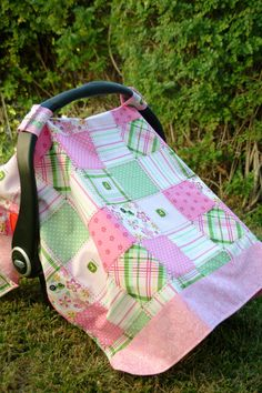 Pink and Green John Deere Baby Car Seat Cover by thelilredwagon, $25.95 #johndeere #johndeerebaby