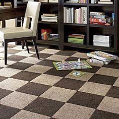 Peel & Stick Carpet Tiles - checkerboard is fun!