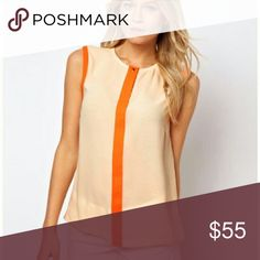 Ted Baker Orange Colorblock Sleeveless Blouse Excellent condition, only worn a handful of times! Top button doesn't close but still totally wearable. Super cute under your favorite cardigan! Size 3 in Ted Baker = equivalent to a size 8. No modeling/trades. Ted Baker London Tops Blouses