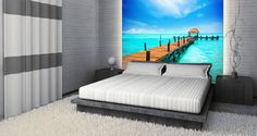 A beautifully crafted wall mural, the tropical sea paradise, will create an illusion you are about to step over the Caribbean ocean. Made to size. Manufactured in the USA.