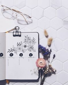 Shayda Campbell sur Instagram: Page from my September journal setup. Watch the new Plan-With-Me for full instructions on this weekly layout. 🌺…