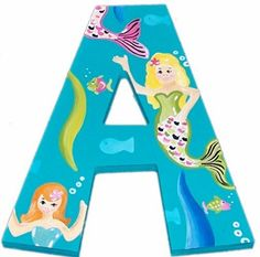Mermaid Hand Painted Wall Letters haha- matches my daughters bedding I had custom made