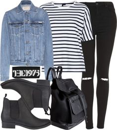 The 1975 concert in November-cold Untitled #1031 by aracelymejiax featuring black high waisted jeans Boutique cotton shirt / Calvin Klein Jeans blue jean jacket / Topshop black high waisted jeans /...