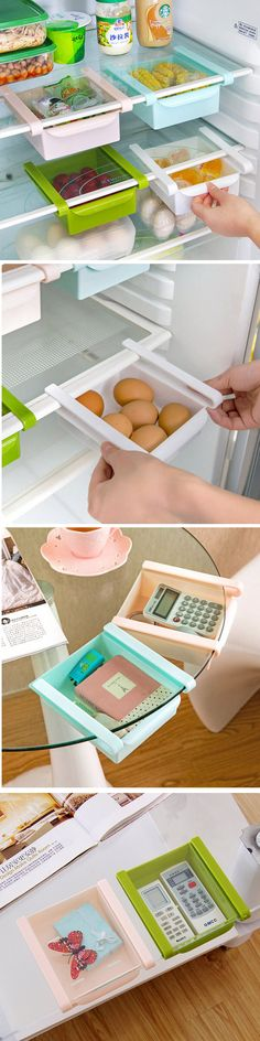 Plastic Kitchen Refrigerator Fridge Storage Rack Freezer Shelf Holder Kitchen Organization